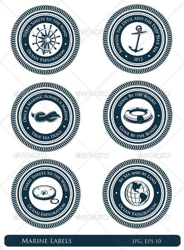 Nautical Labels With Marine Slogans - Decorative Symbols Decorative