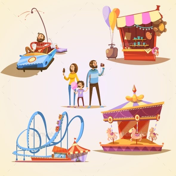 Amusement Park Cartoon Set