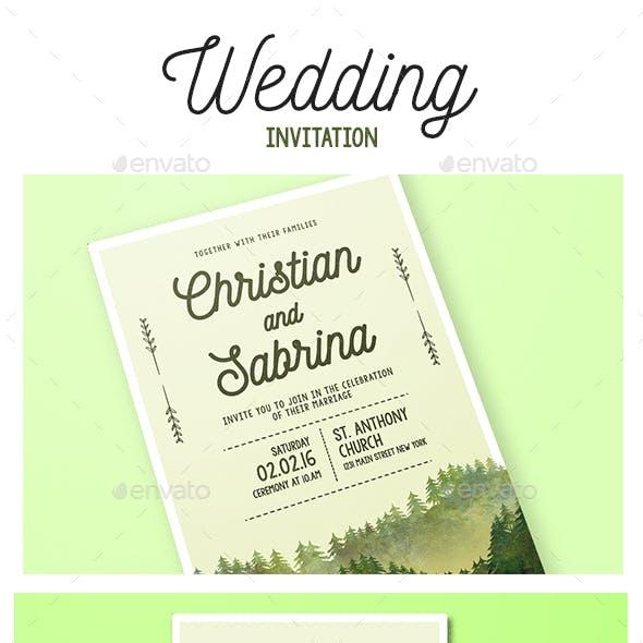 Watercolor Forest Wedding Invitation
