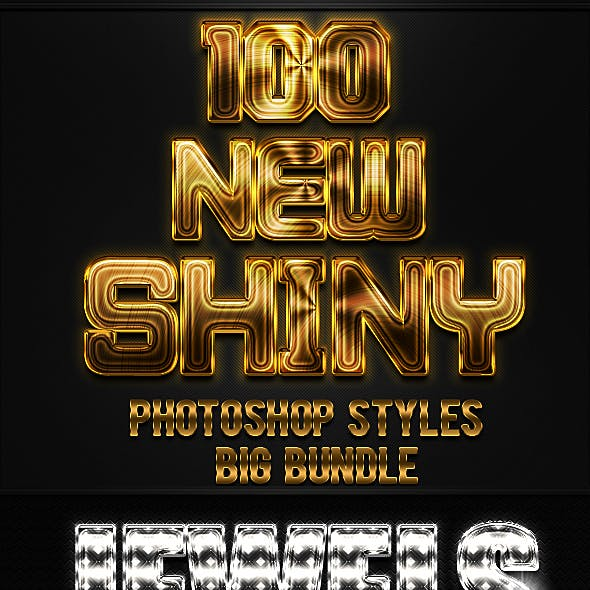 100 New Shiny Photoshop Styles Bundle