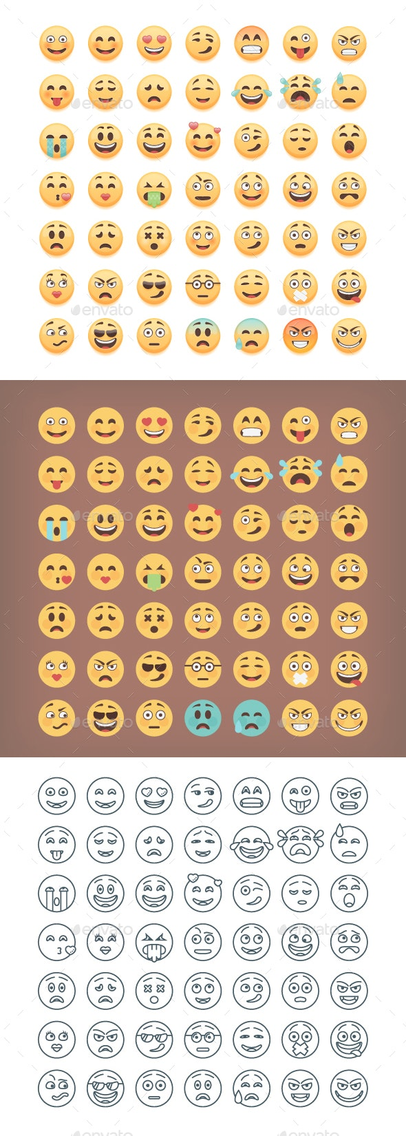 49 Cute Emoticons Set - Miscellaneous Characters