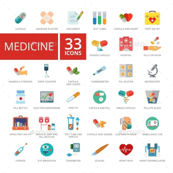 Medicine Icons Set - Health/Medicine Conceptual