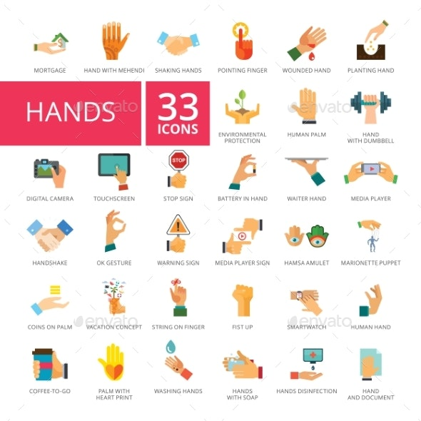 Hands Icons Set - Web Technology