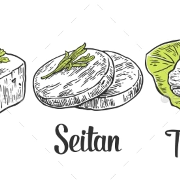 Set Vegan And Vegetarian Food. Tofu, Seitan