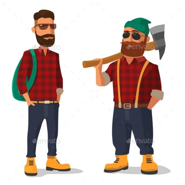 Lumberjack And Hipster In The Yellow Shoes Red