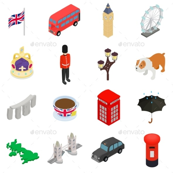 England Icons Set, Isometric 3d Style - Miscellaneous Icons