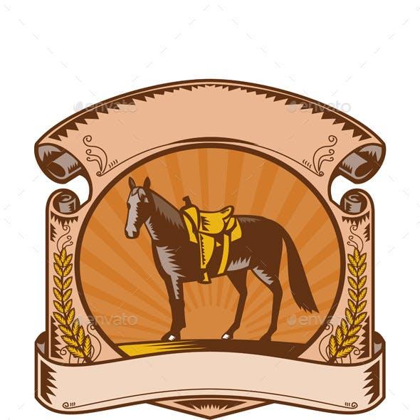 Horse Western Saddle Scroll Woodcut