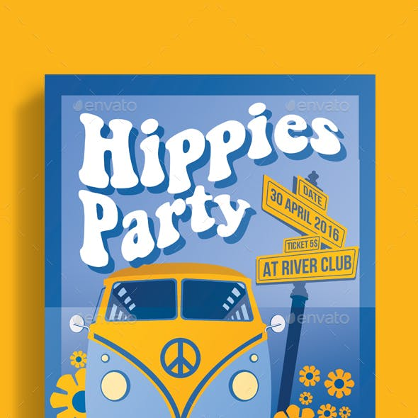 Hippies Party Flyer Poster