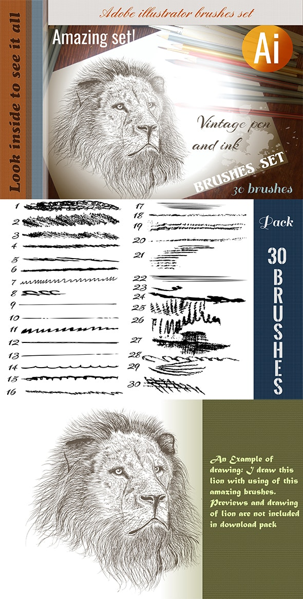 Collection of Pen and Ink Brushes for Adobe Illustrator - Brushes Illustrator