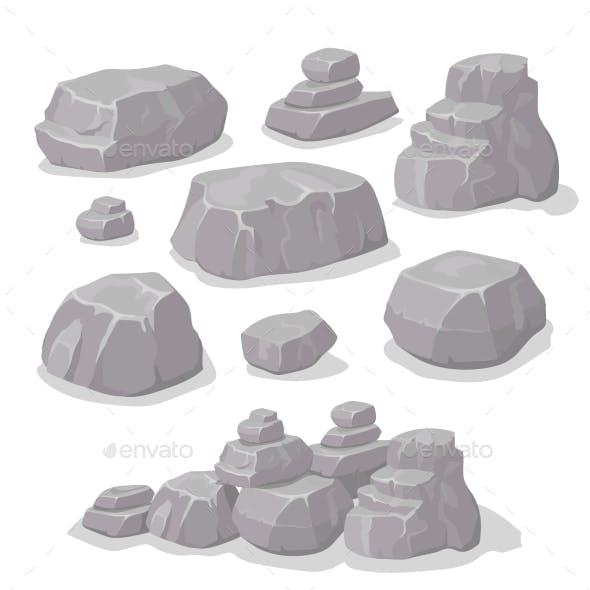 Set Of Stones, Rock Elements Different Shapes