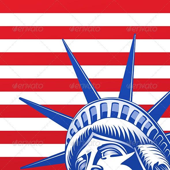Liberty Statue Face - Objects Vectors