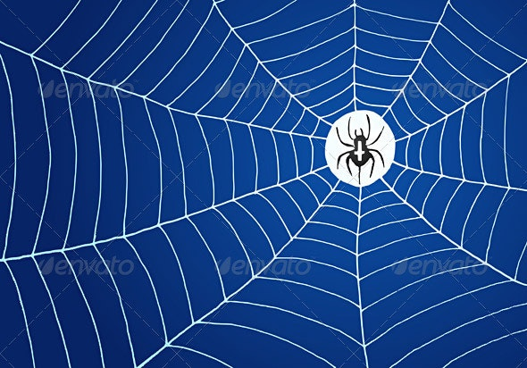 Spider and Net Illustration - Web Technology