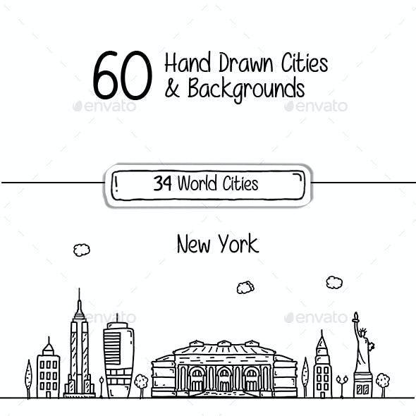 60 Hand Drawn Cities & Backgrounds