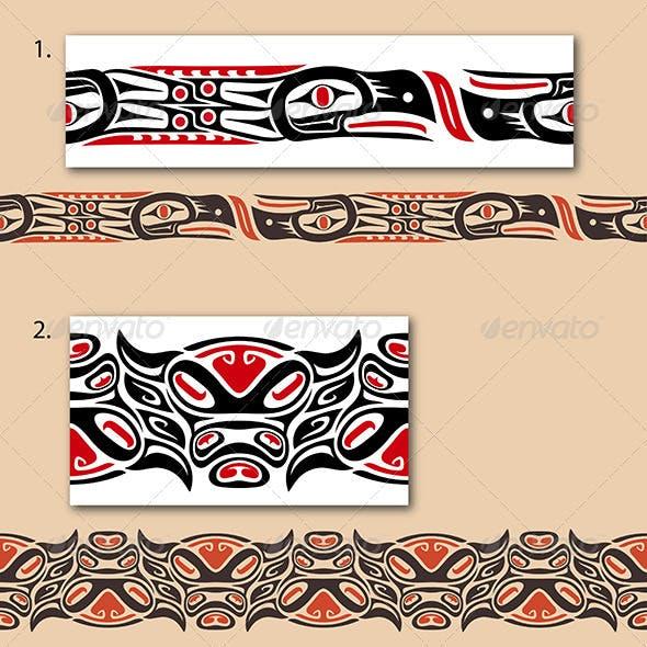 Haida style seamless pattern