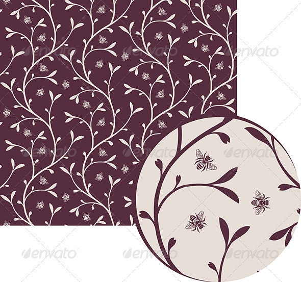 Floral pattern with bees - Patterns Decorative