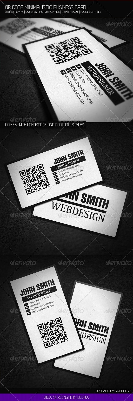 QR Code Minimalistic Business Card - Corporate Business Cards