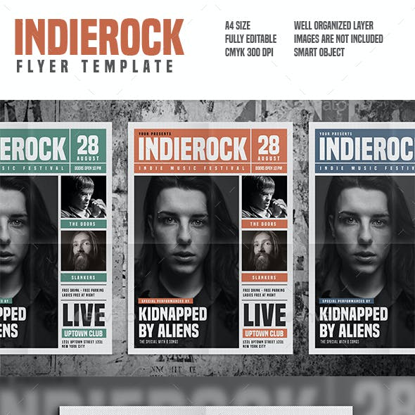 Indie Rock Newspaper Style Flyer