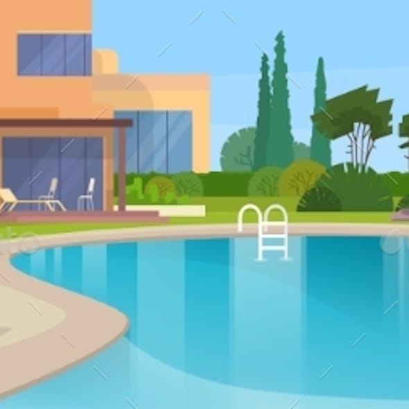 Swimming Pool Big Modern Villa Hotel House