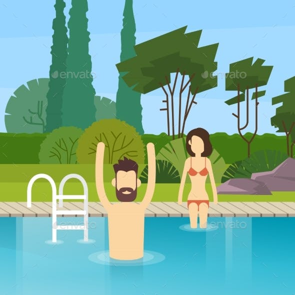 Couple In Swimming Pool Leisure Activity