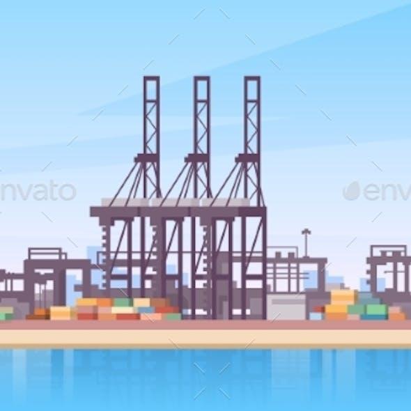 Industrial Sea Port Cargo Logistics Container Ship