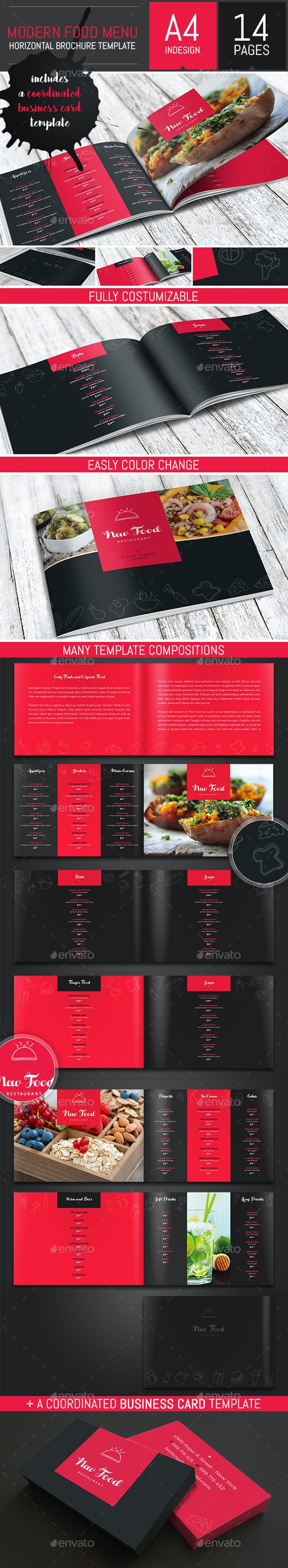Modern Food Restaurant Menu Brochure / Bi-Fold Template - Food Menus Print Templates