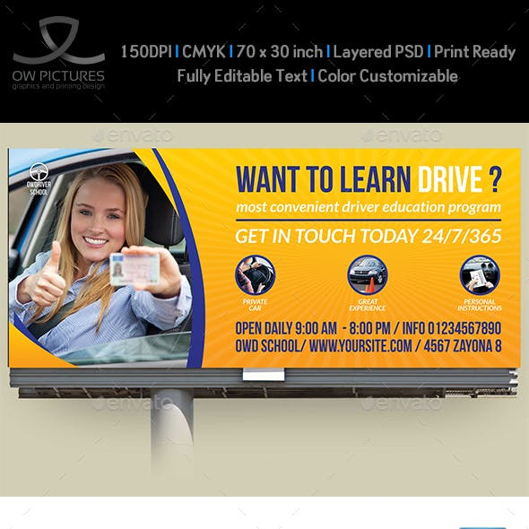 Driving School Billboard Template