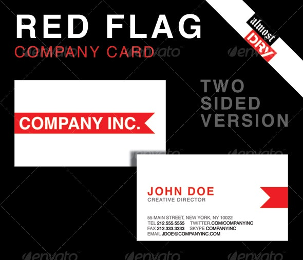 RED FLAG BUSINESS CARD - 2 SIDED VERSION - Corporate Business Cards