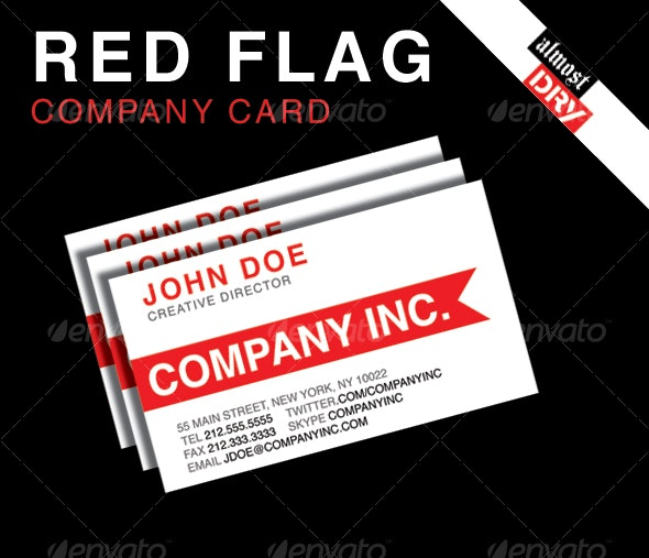 RED FLAG BUSINESS CARD - SINGLE SIDED VERSION  - Corporate Business Cards