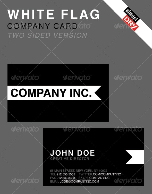 WHITE FLAG BUSINESS CARD - 2 SIDED VERSION - Corporate Business Cards