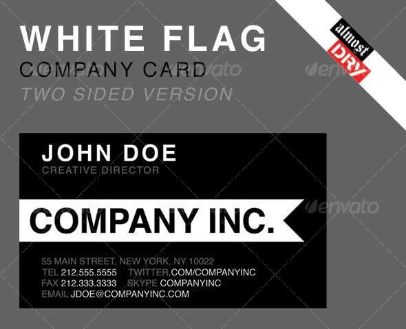 WHITE FLAG BUSINESS CARD - SINGLE SIDED VERSION  - Corporate Business Cards