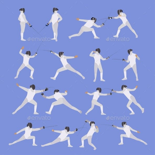 Vector Set Of Sport Fencing Athletes Isolated