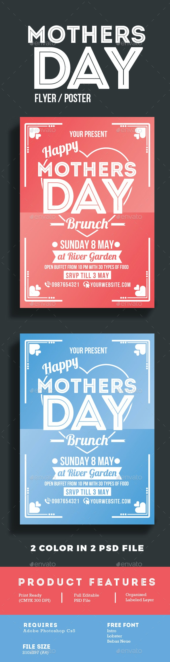 Mothers Day Brunch Flyer Poster - Events Flyers
