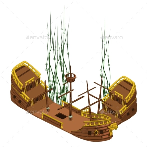 Remains Of Pirate Ship With Algae, Vector Isolated - Travel Conceptual