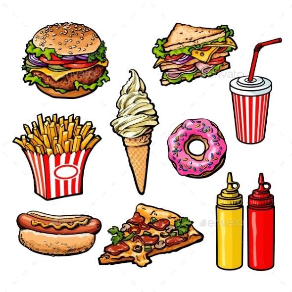 Set Of Various Food Fastfood