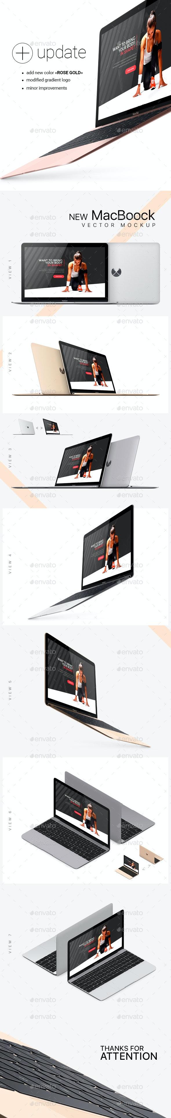 New MacBook Photorealistic Vector Mockup - Laptop Displays