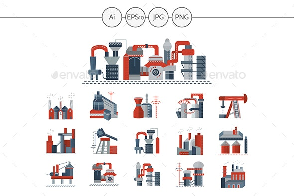 Factories and Plants Flat Icons