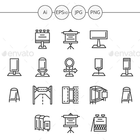 Outdoor Advertising Flat Line Vector Icons Set