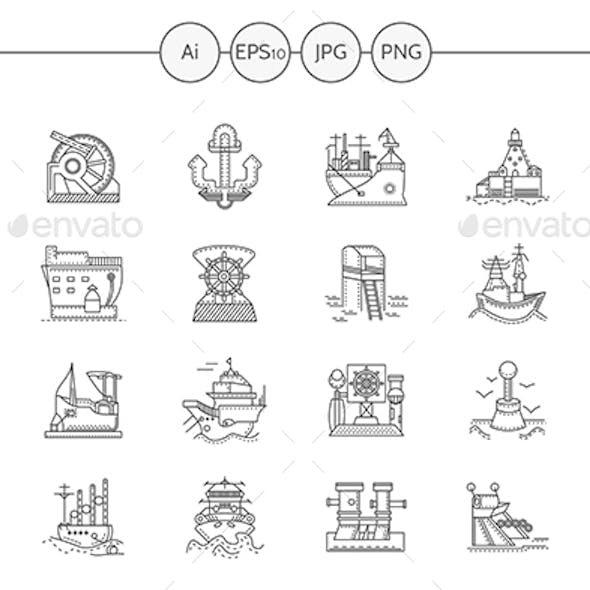 Ships and Ports Flat Line Vector Icons Set