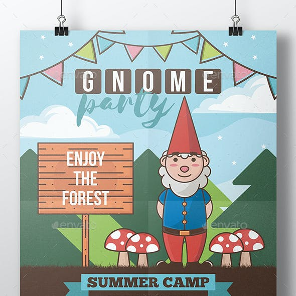 Gnome Party Flyer Template