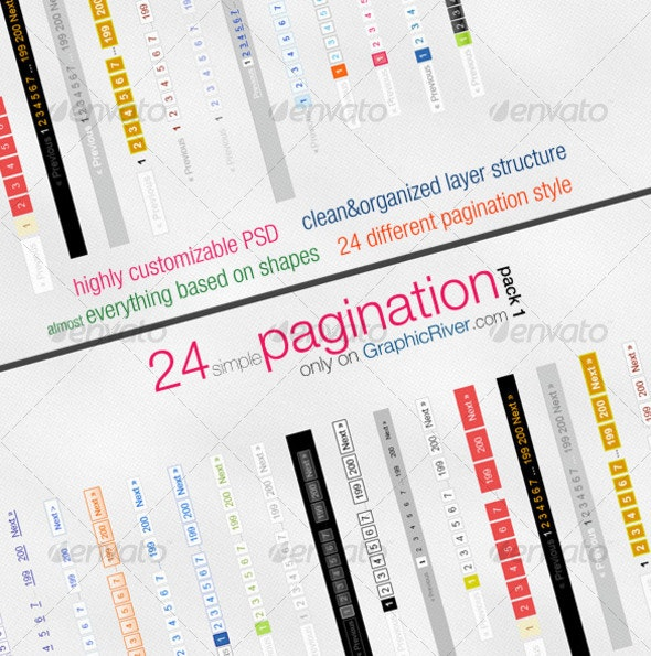 24 simple pagination style - Backgrounds Graphics