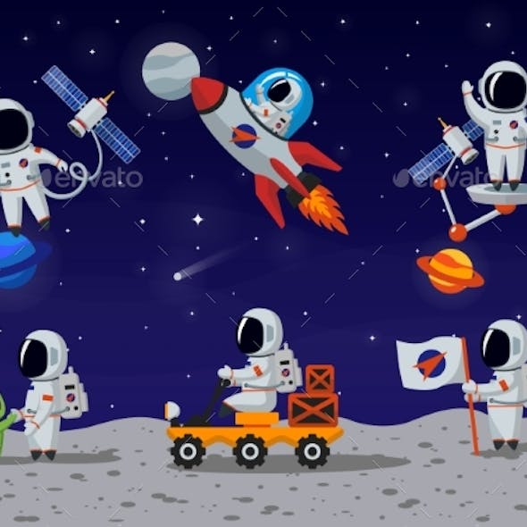 Astronauts Vector Characters Set In Flat Cartoon