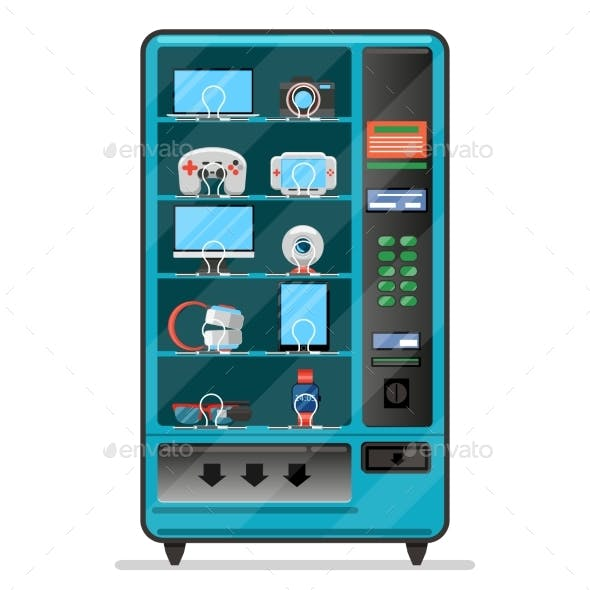 Vending Machine with Electronic Devices