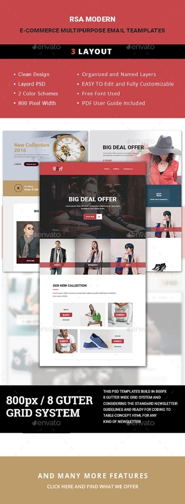 E-Commerce Multipurpose Email Template - E-newsletters Web Elements