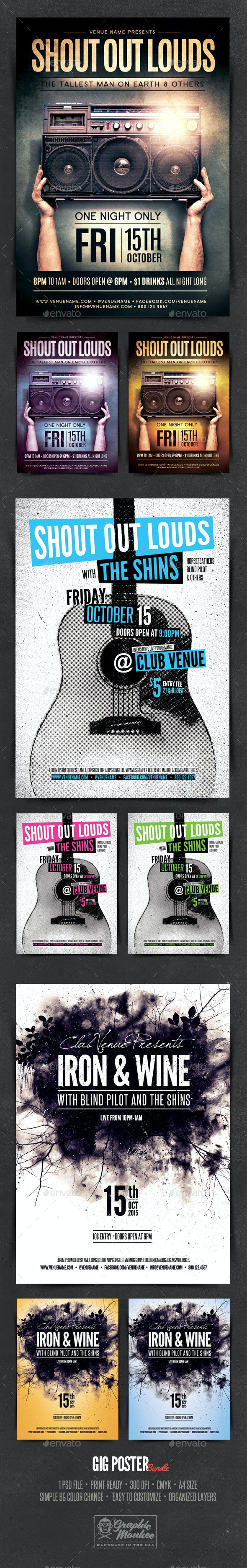 Gig Poster Template - Bundle - Concerts Events