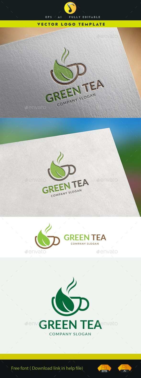Green Tea Logo - Food Logo Templates