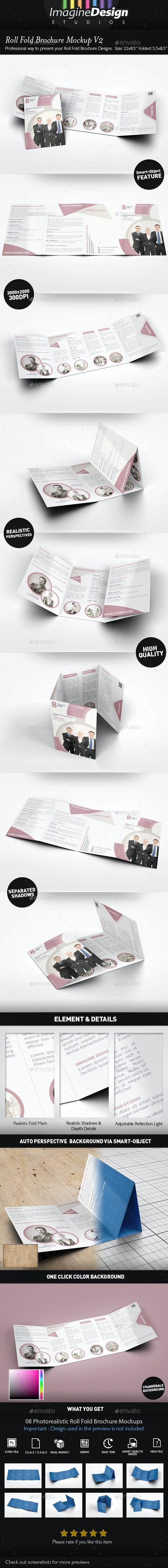 Roll Fold Brochure Mockup V2  - Brochures Print