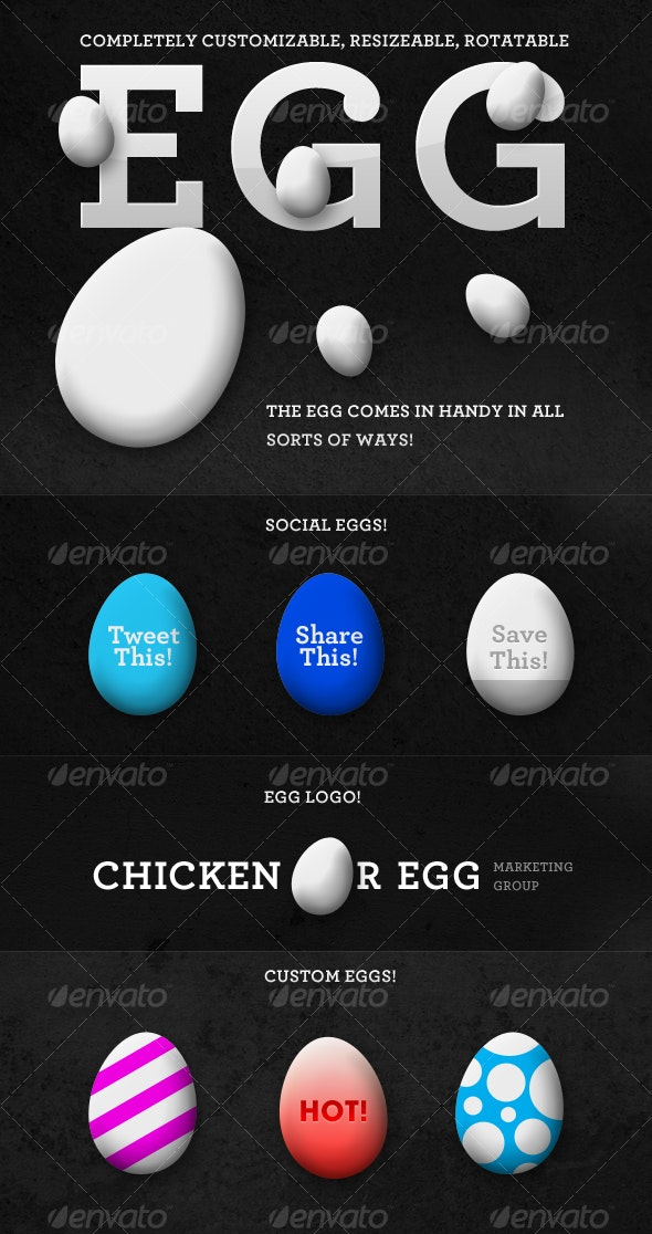 Incredible Customizable Egg - Objects Illustrations