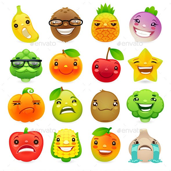 Cartoon Fruits and Vegetables with Different Emotions Set 2