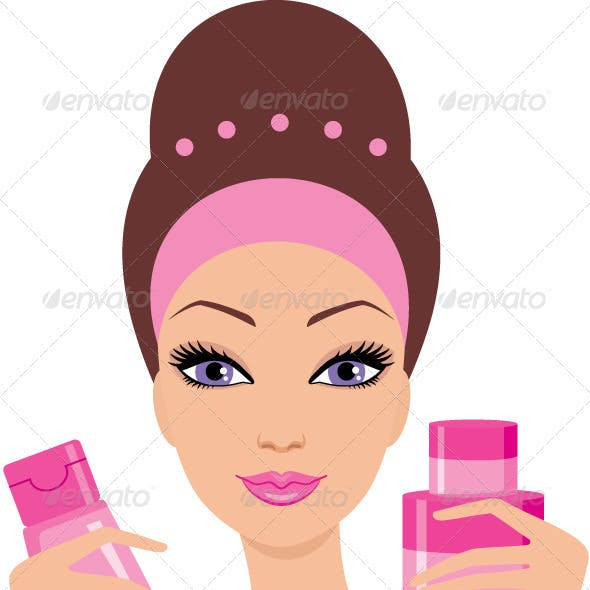 Beautiful young woman with a cosmetics set