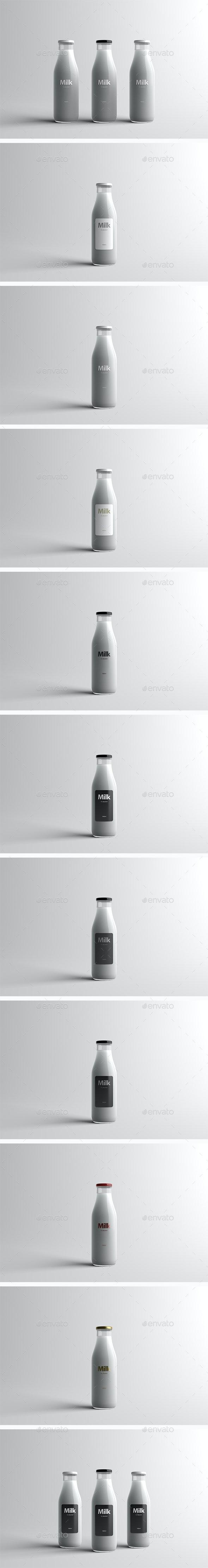 Milk Bottle Packaging Mock-Up - Food and Drink Packaging